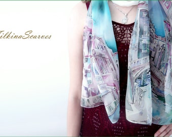 Hand Painted Silk Scarf Venice scarf Batik Silk Painting Handpainted Scarf  Women Gift for Her Handmade Luxurious scarf Silk Painting Scarf