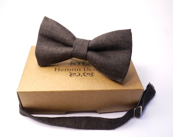 Brown Linen  bow tie for wedding / boys brown bow ties / mens bow ties / brown bow tie