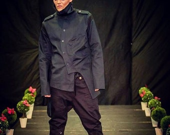 Mens Black Asymmetrical Jacket Chest 42