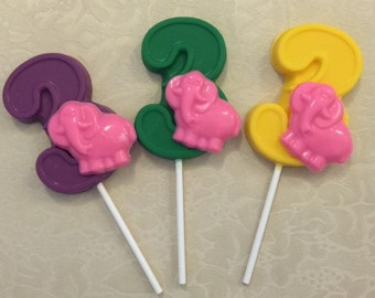 "NUMBER THREE ""ELEPHANT"" Chocolate Lollipops - Baby Elephant Favors/Third Birthday/Safari Theme/Zoo Animals/Party Favors/Baby Animals"