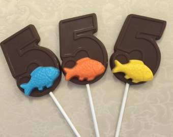 "NUMBER FIVE ""FISH"" Chocolate Lollipop(12 qty)-Fishing/Fish/Fifth Birthday/Fishing Party/Fish Lollipop/Number 5 Lollipop/Party Favor"