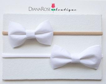 Mini Baby Hair Bow headband. White bow headband.
