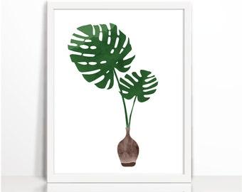 Modern deco, Monstera, Monstera Print, Leaf, Art Print, Tropical, Summer Print, Summer Art, Wall Art, Wall Print, Printable, Art Prin