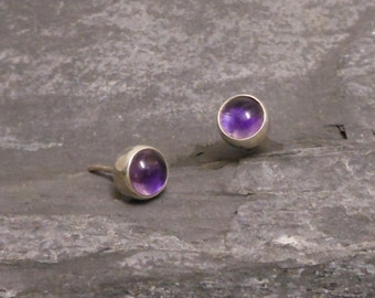 Amethyst silver studs, 925 Sterling Silver Amethyst earrings