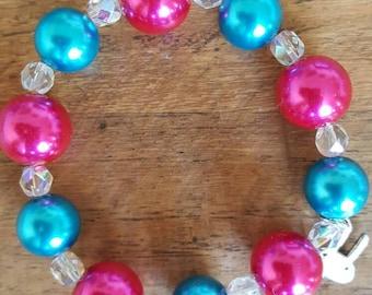 Chunky Bright Pink, Aqua Blue and Crystal Bracelet