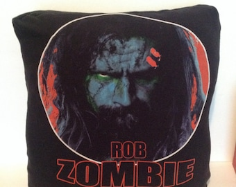 Rob Zombie Upcycled T-shirt Pillow