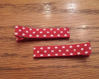 Red Polka Dotted Hair Clips - Pair