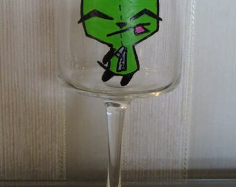Invader Zim inspired Wine Glass