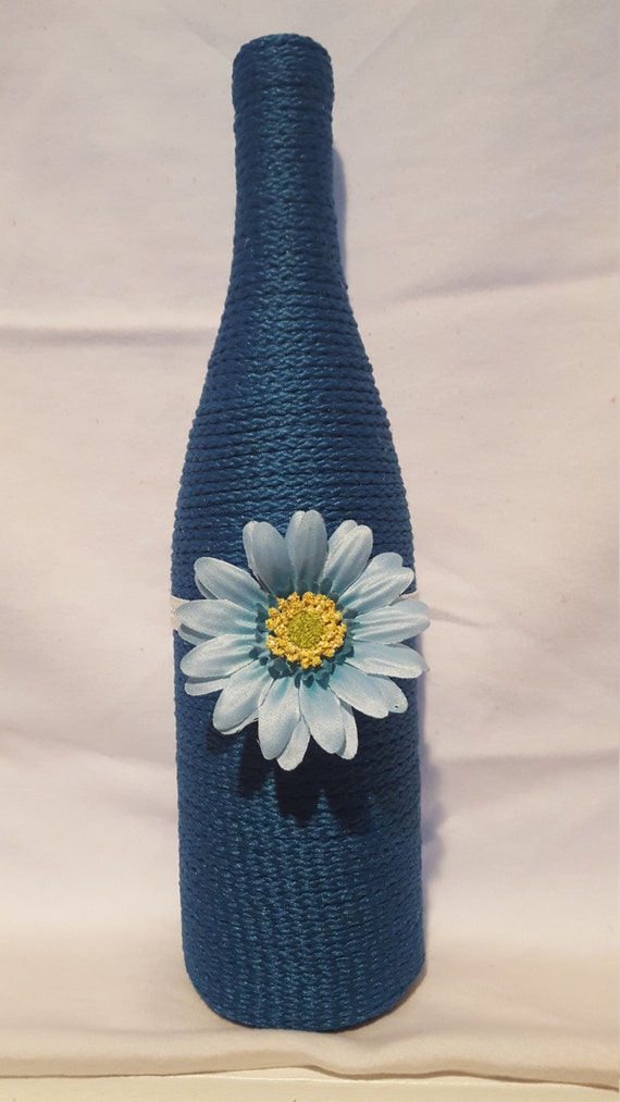 Decorated wine bottle teal with flower upcycled wine for Wine bottles decorated with flowers