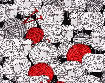 Knitting Sheep Wool printed Fabric, Lamb fabric by Timeless Treasures by the Half Yard