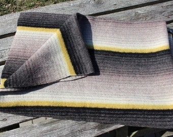 "Vintage Swedish Blanket Wrap around You / Pastel  Woolen Blanket / Camp Blanket / Rustic Picnic Blanket Mid Century Bedding 78"" x 58"""