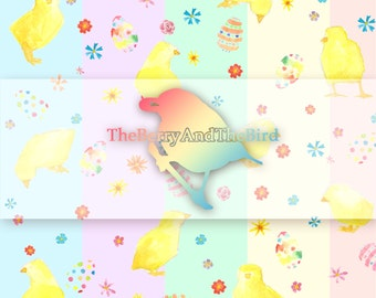 Easter Chicks Watercolor Repeatable Pattern [Instant Download]