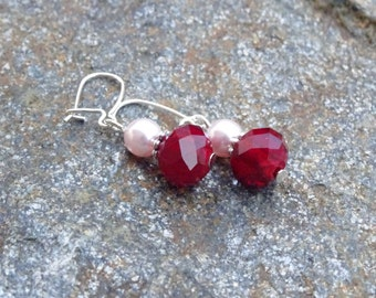 Red Italian Glass and Blush Pink Glass Pearls on Sterling Silver