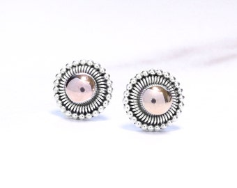 18k Gold and 925 Sterling Silver Round Stud Earrings, Sterling Silver and Gold Studs, Gold Studs, Small earrings