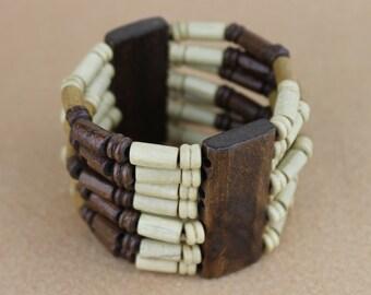 Elastic Bound Wooden Bead African Bracelet
