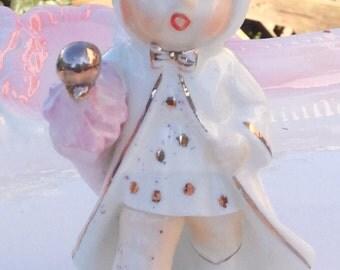 Pretty in Pink-Napco 1956 Little Girl in Rain Salt Shaker
