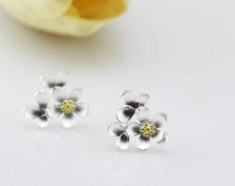 sterling silver flower stud earrings, flower earrings, flower stud earrings, flower earstuds, nature earrings, nature jewelry