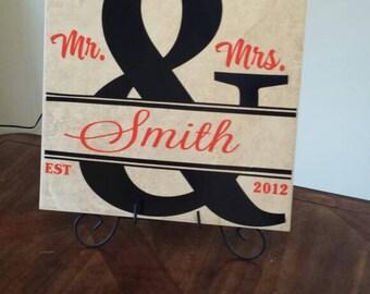 """Personalized Wedding 12""""x12"""" Tile, Wedding Tile, Personalized Gift, Personalized Tile, Household Shower Gift, Wedding Gift, Unique Gift"""