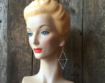Gray Metallic Small Triangle Bead Earrings