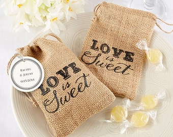 Set of 24-  Love is Sweet Burlap drawstring Favor Bags