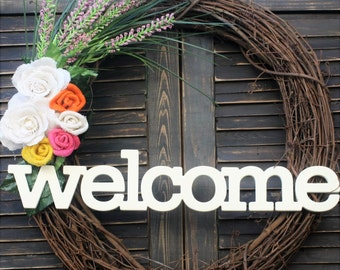 Welcome Wreath with Burlap flowers and Lavender Sprigs