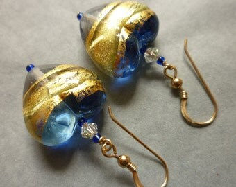Murano glass earrings - blue and gold hearts with Swarovski crystals and gold filled ear wires