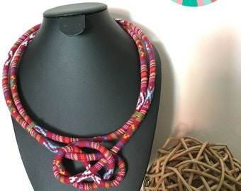 Ethnic necklace . red necklace . Colorful necklace . Necklace trend