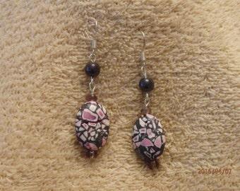 Mosaic pattern beaded earrings with onyx bead