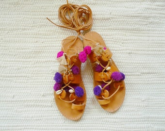 Sandals Gladiator Sierra Handmade tassels Boho Sandals Grecian Purple pomegranate