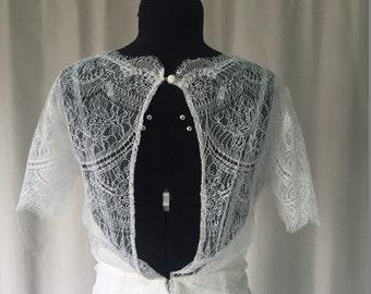"""SAMPLE SALE! """"Sophia"""" Full Lace, Sleeved Wedding Dress with Keyhole Back, Ivory, Size 12"""