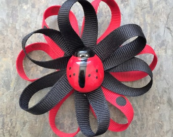 Red and Black Ladybug Coco Bow