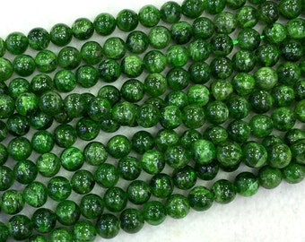 """Wholesale Natural Genuine Green Chrome Diopside Round Loose Beads 4-14mm 16"""" 04065"""