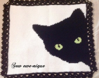 Cat sihouette crocheted blanket