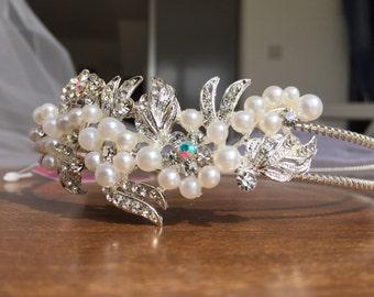 Handmade Swarovski Crystal & Pearl Bead Headband / Tiara