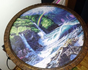 Hand made wood framed puzzle