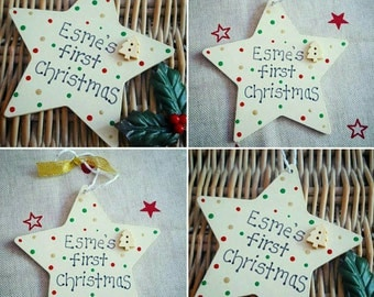 Personalised star Christmas tree bauble- any name/year/wording.