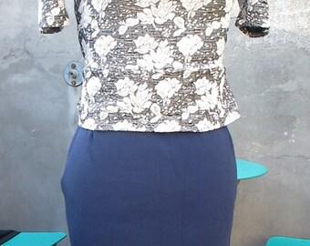 Navy skirt merino-nylon blend