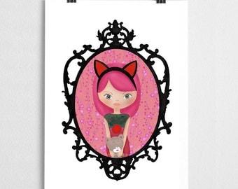 Illustration doll cat baroque Medallion