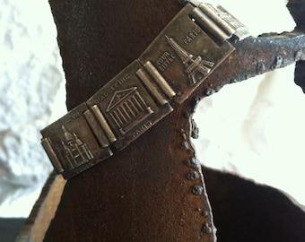 Vintage silvertone paneled Paris souvenir bracelet