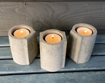 Triplet Concrete Tea Light Holder Set