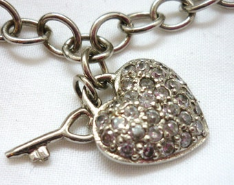 Antique Silver Sterling Necklace Heart and Key with Diamantes and hallmark BJL