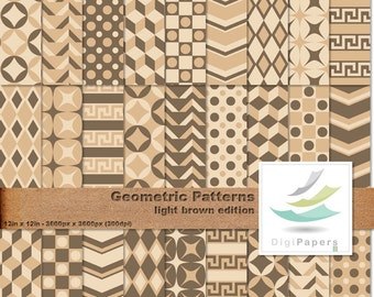 Light Brown Geometric Patterns - Scrapbooking Digital paper Pack for personal and commercial use - Suitable for scrapbooking and backgrounds