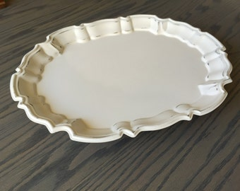 Vintage Off White Oval Distressed Shabby Chic Footed Tray