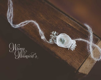 white petal flower with blue Tie back Headband Newborn