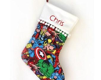 Personalized Marvel Christmas Stocking Santa Stocking Super