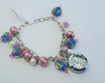 Brand New Handmade Glass Heart Watch with Beads