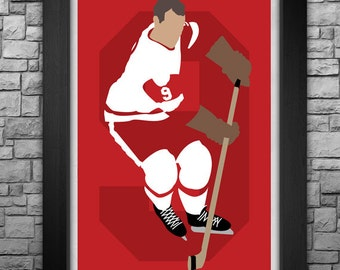 GORDIE HOWE minimalism style limited edition art print. Choose from 4 sizes! Detroit Red Wings