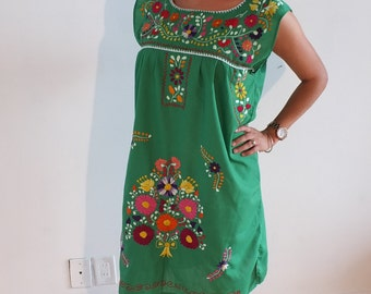 Embroidered 100% handmade mexican dress