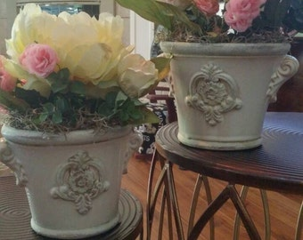 Two small vintage glass bowls with pink and white roses