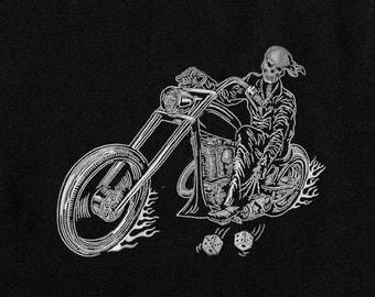 Skeletal Bike Rider Haunting Embroidery Design